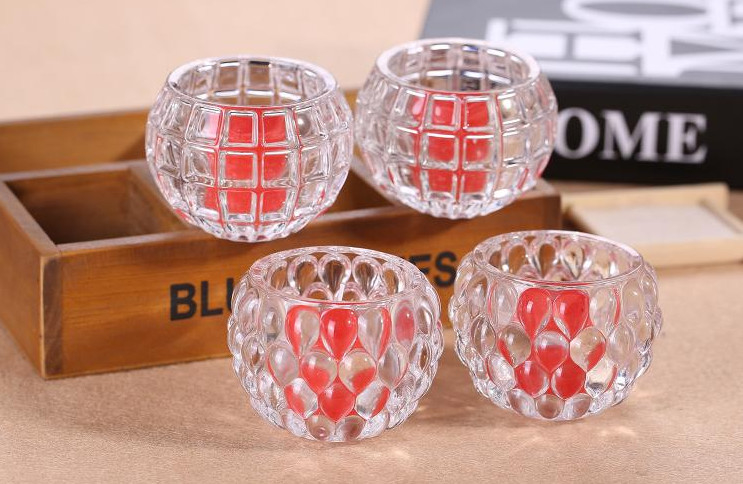 Clear Ball Shape Candle Glass Cups High White Glass Household Decorative