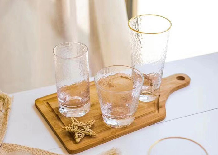 Round Glass Drinking Cup Sets With Gold On Cup Side For Juice And Wine